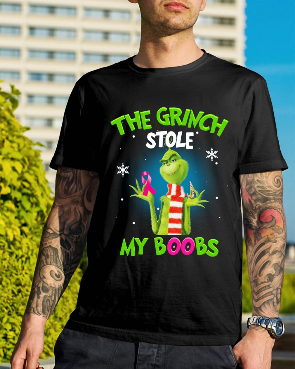 The Grinch stole my boobs Christmas Guys Shirt