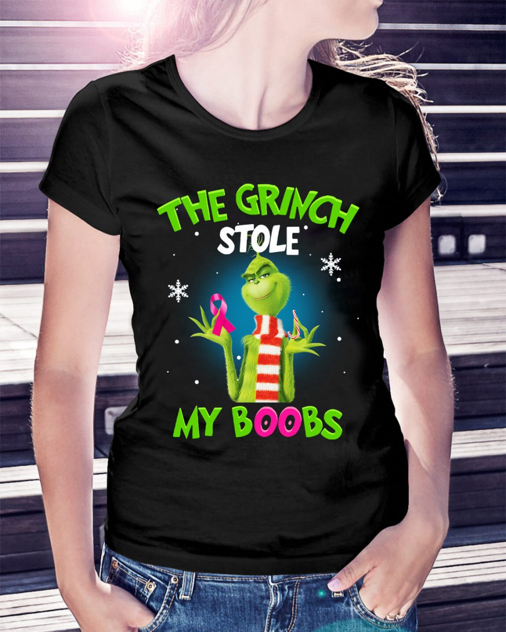 The Grinch stole my boobs Christmas Ladies Tee