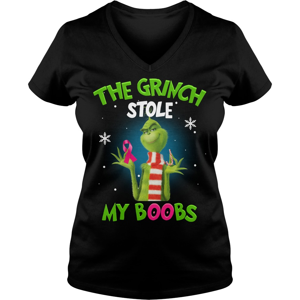 The Grinch stole my boobs Christmas V-neck T-shirt