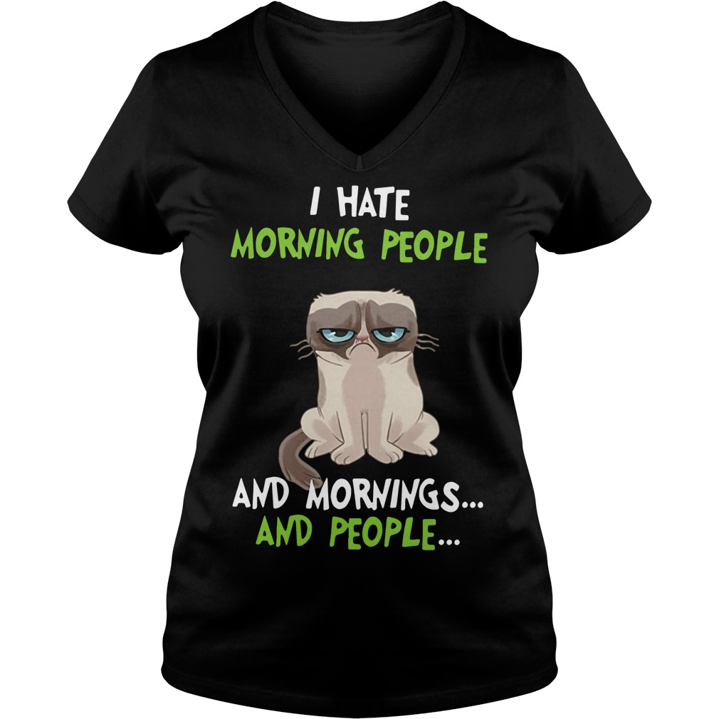 Grumpy cat I hate morning people and mornings and people V-neck T-shirt