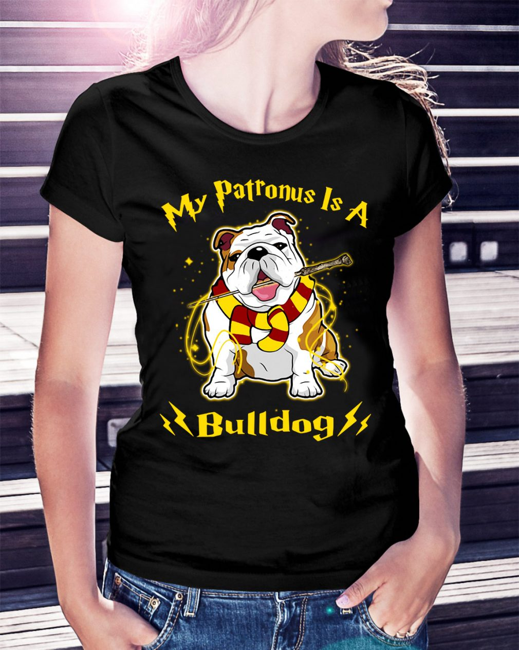 Harry Potter my Patronus is a Bulldog Ladies Tee