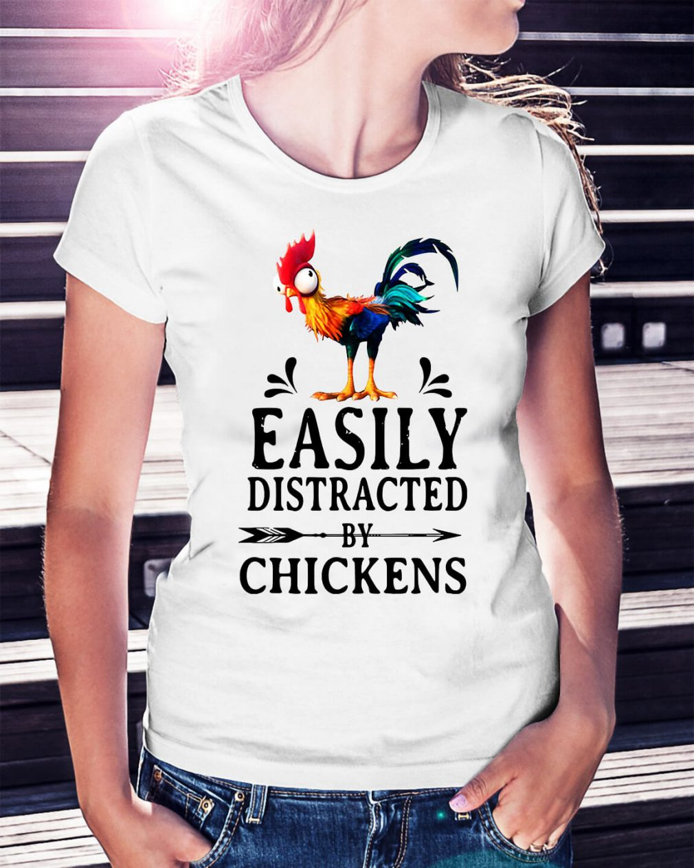Hei Hei easily distracted by Chickens Ladies Tee