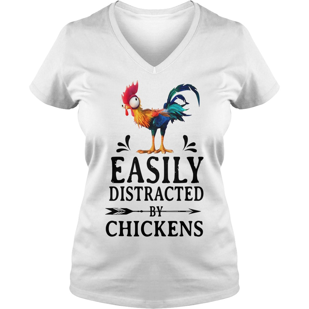 Hei Hei easily distracted by Chickens V-neck T-shirt