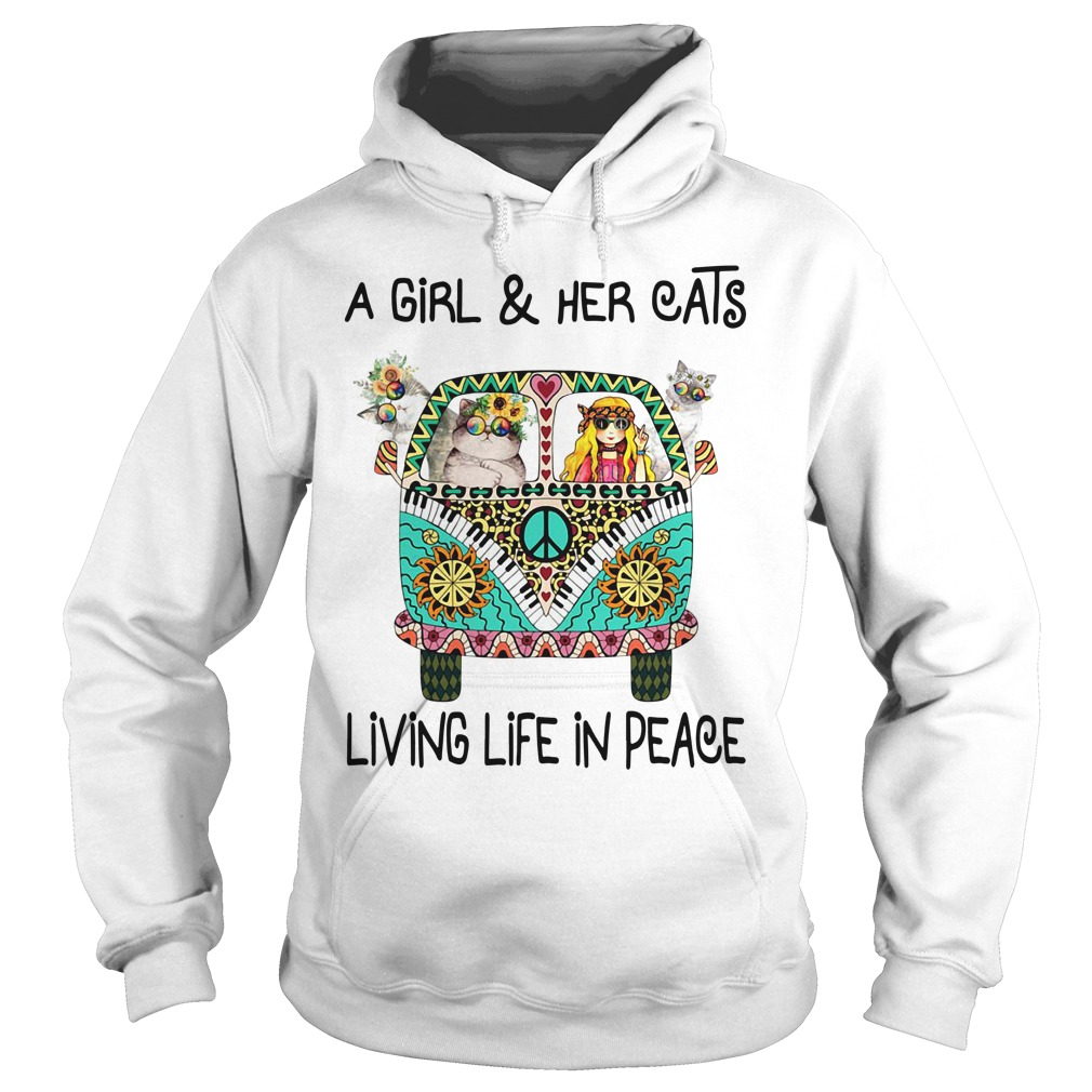 Hippie a girl and her cats living life in peace Hoodie