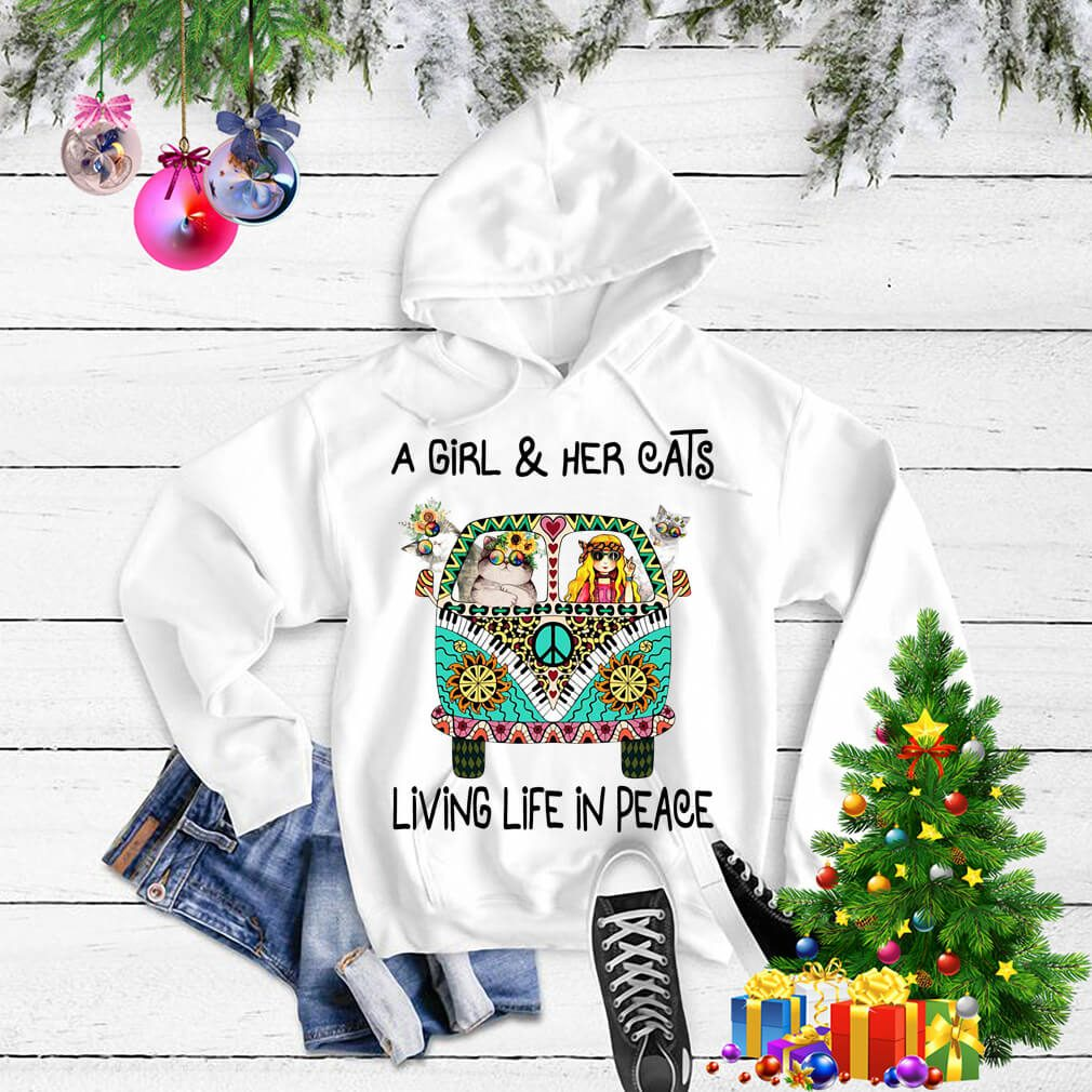 Hippie a girl and her cats living life in peace Sweater