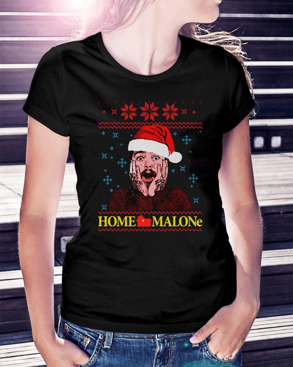 Home Malone Post Malone Christmas ugly Christmas Ladies Tee