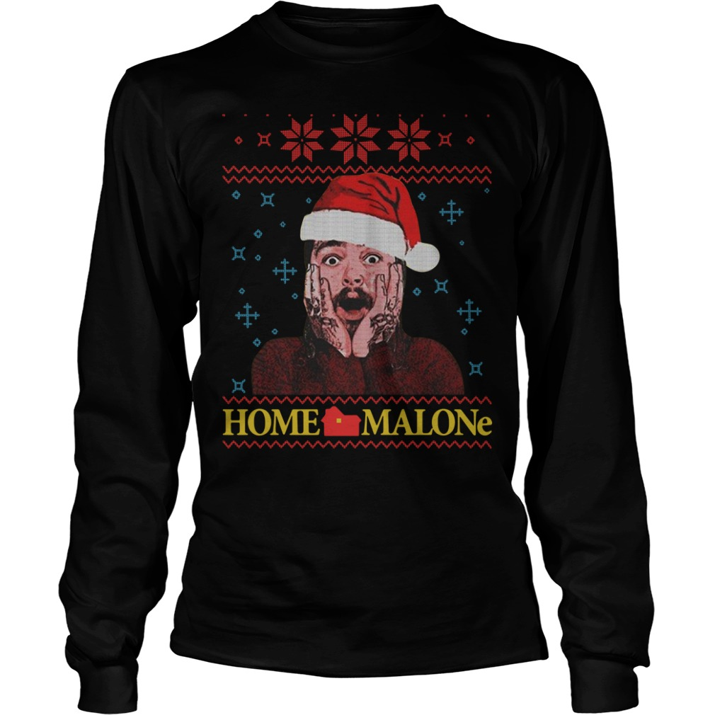 Home Malone Post Malone Christmas ugly Christmas Longsleeve Tee