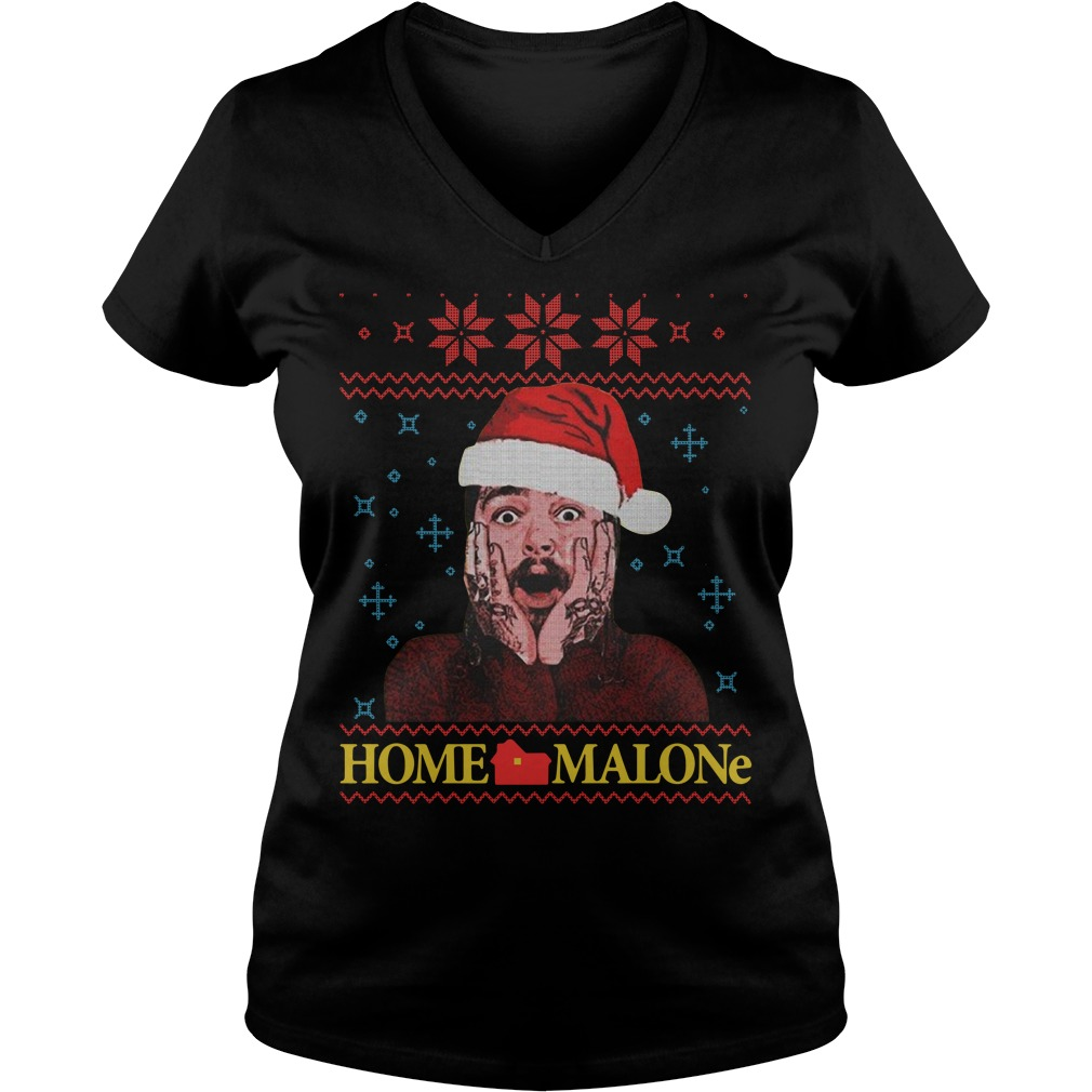 Home Malone Post Malone Christmas ugly Christmas V-neck T-shirt