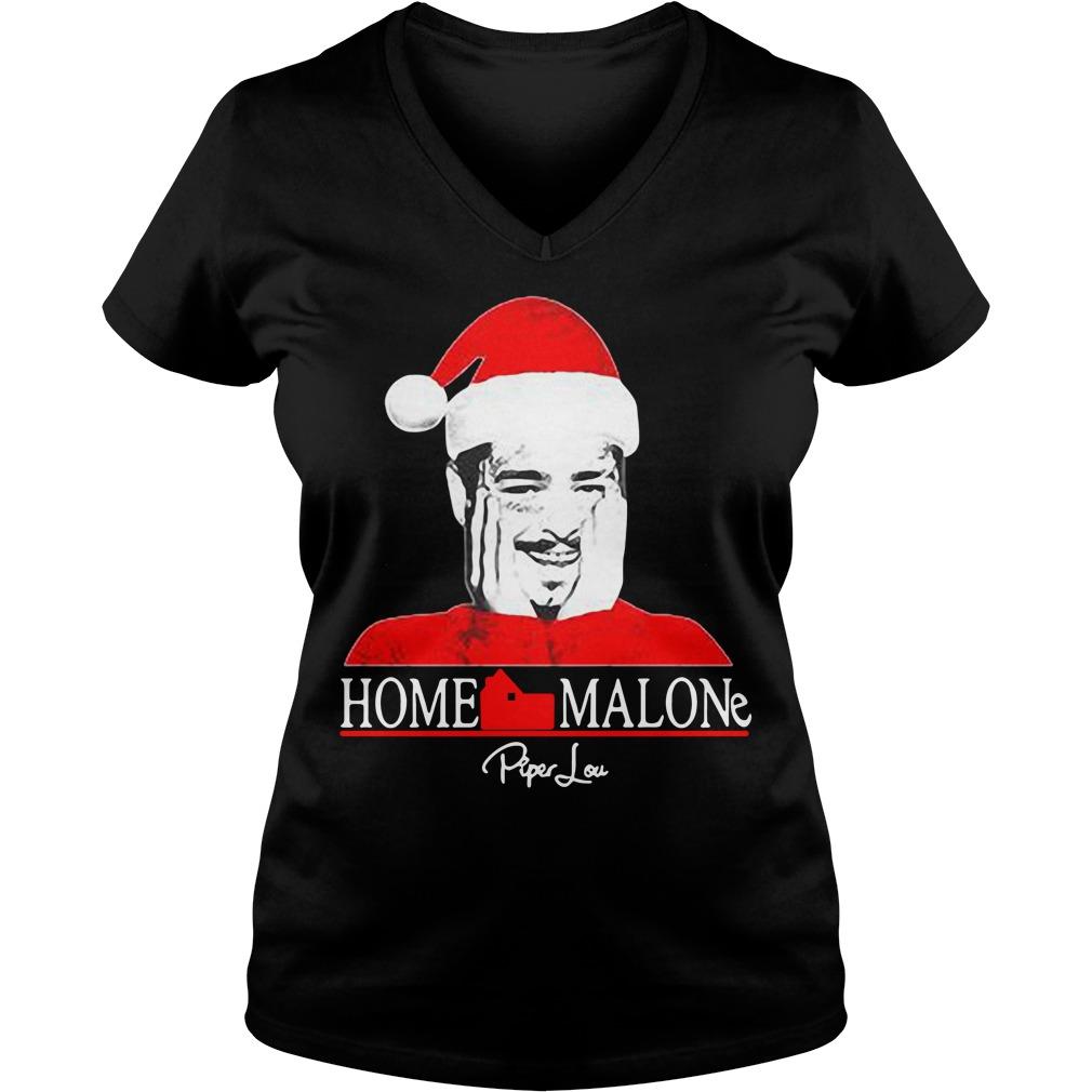 Home Malone Post Malone Santa Christmas V-neck T-shirt