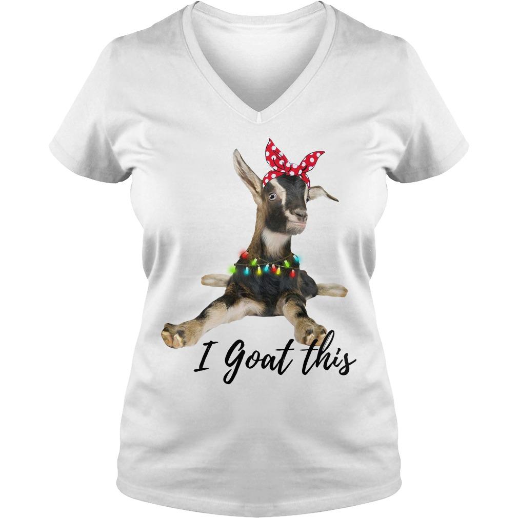 I Goat this Christmas light V-neck T-shirt
