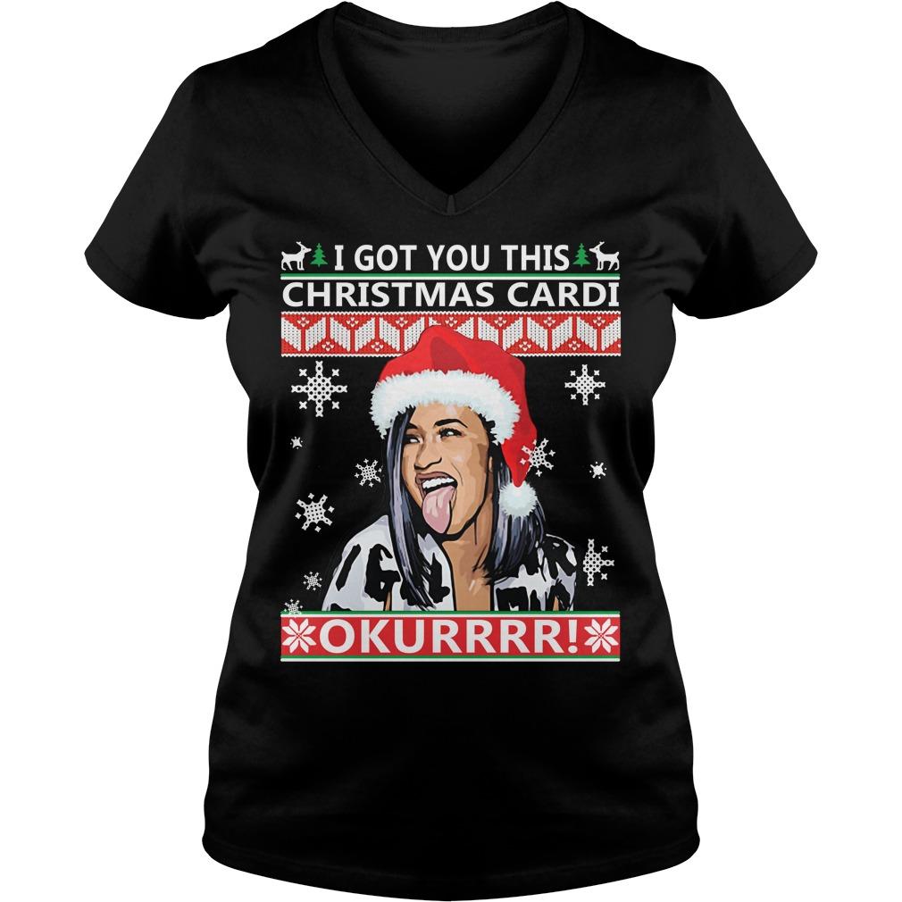 I got you this Christmas cardi Okurrr ugly V-neck T-shirt