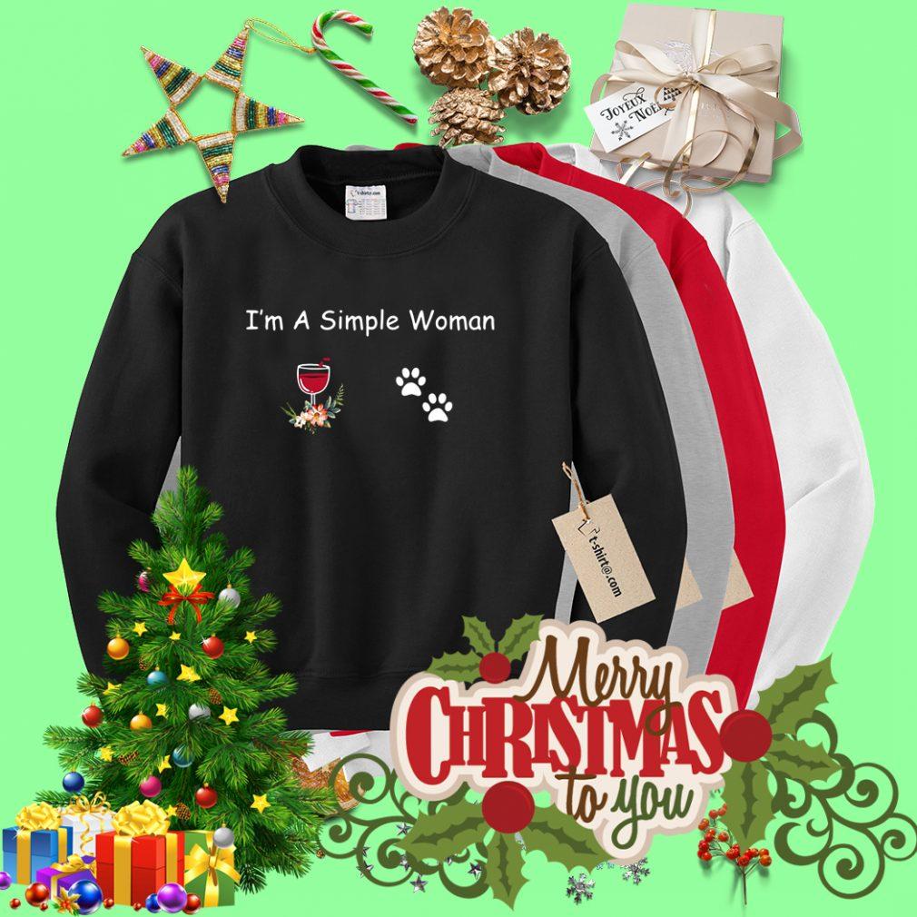 I'm a simple woman I like wine and paw dog Sweater