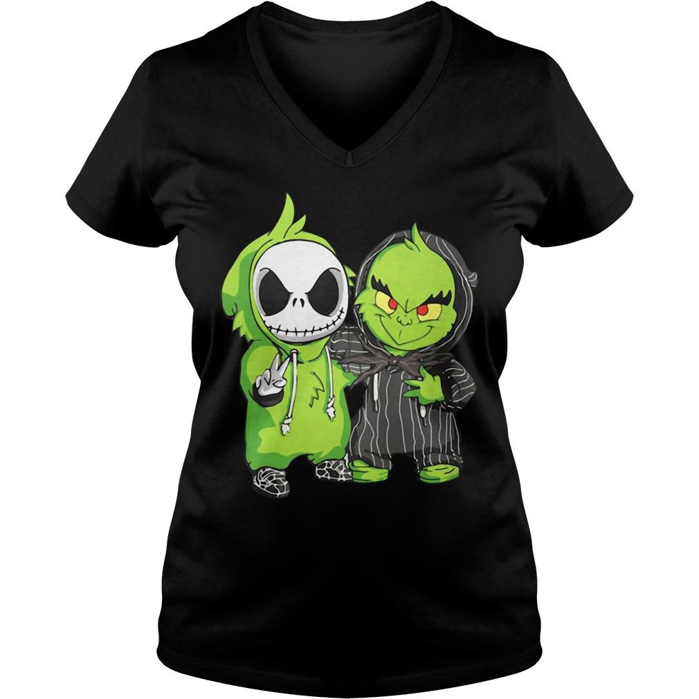 Jack Skellington and Grinch we are best friends V-neck T-shirt