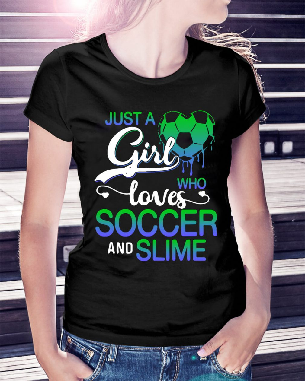 Just a girl who loves soccer and smile Ladies Tee