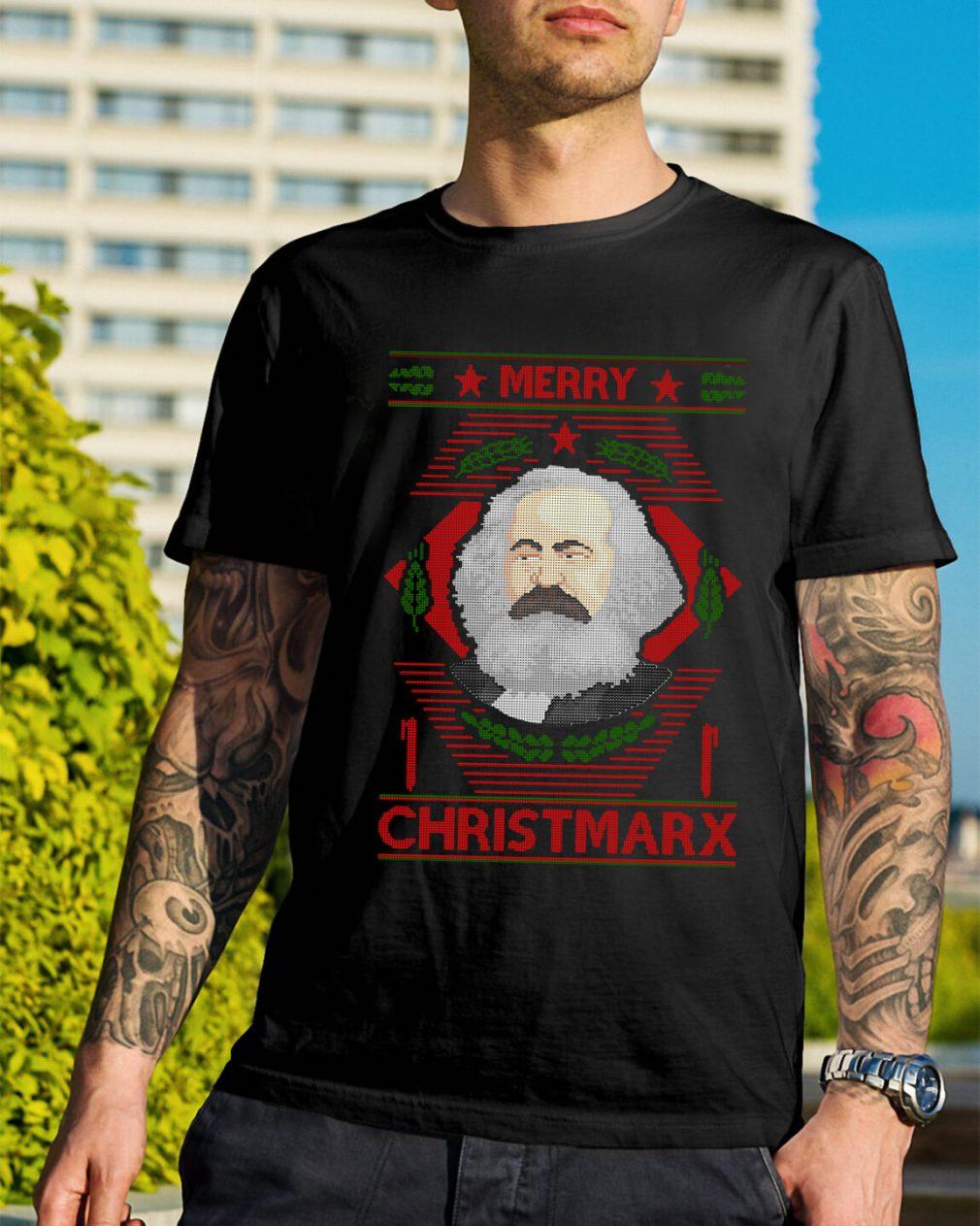 Karl Marx Merry Christmarx ugly Christmas Guys Shirt