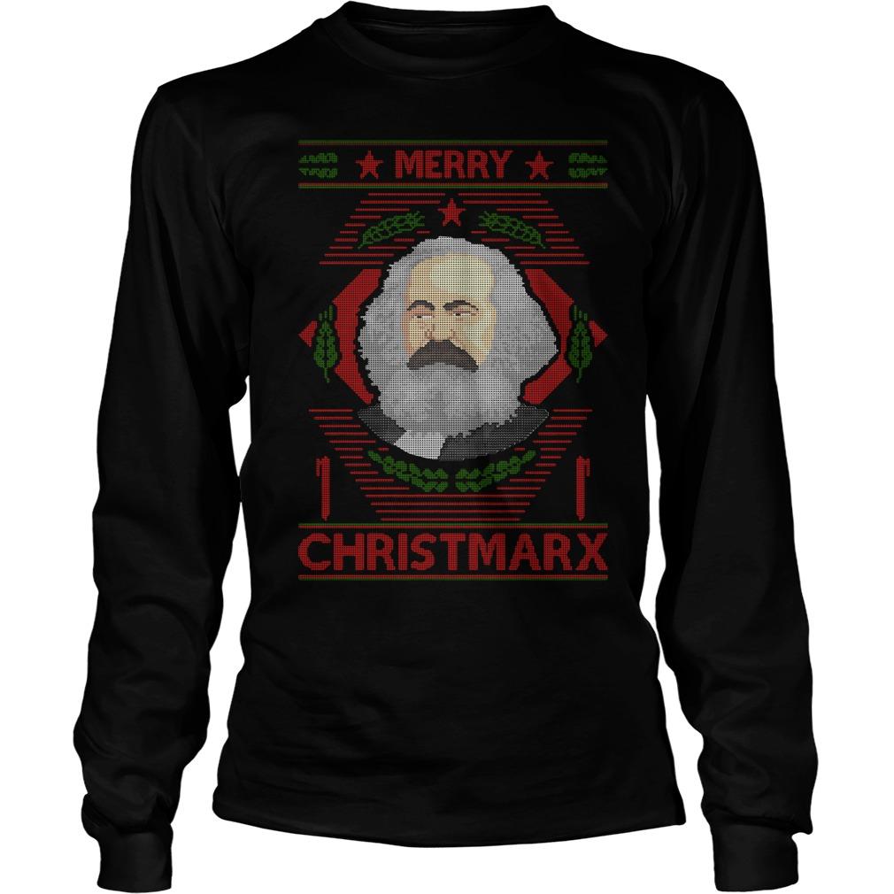 Karl Marx Merry Christmarx ugly Christmas Longsleeve Tee