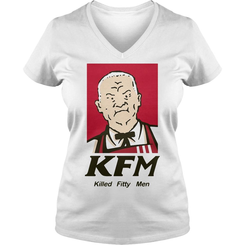 KFM killed fitty men V-neck T-shirt