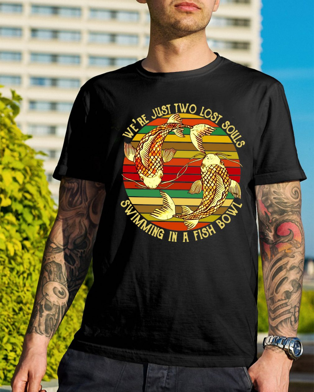 Koi we're just two lost souls swimming in a fish bowl vintage shirt