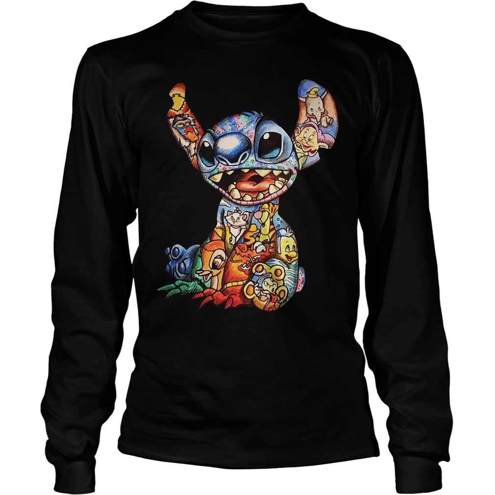 Lilo and Stitch Disney characters Cross Stitch Pattern Longsleeve Tee