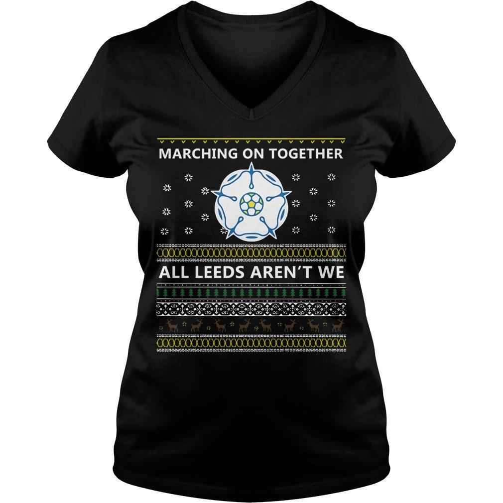 Marching on together all Leeds aren't we V-neck T-shirt