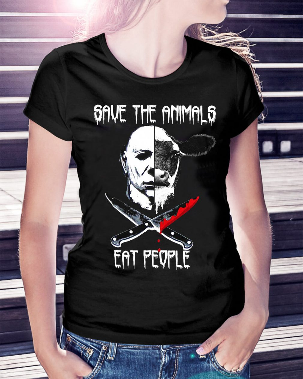 Michael Myers and Cow save the animals eat people Ladies Tee