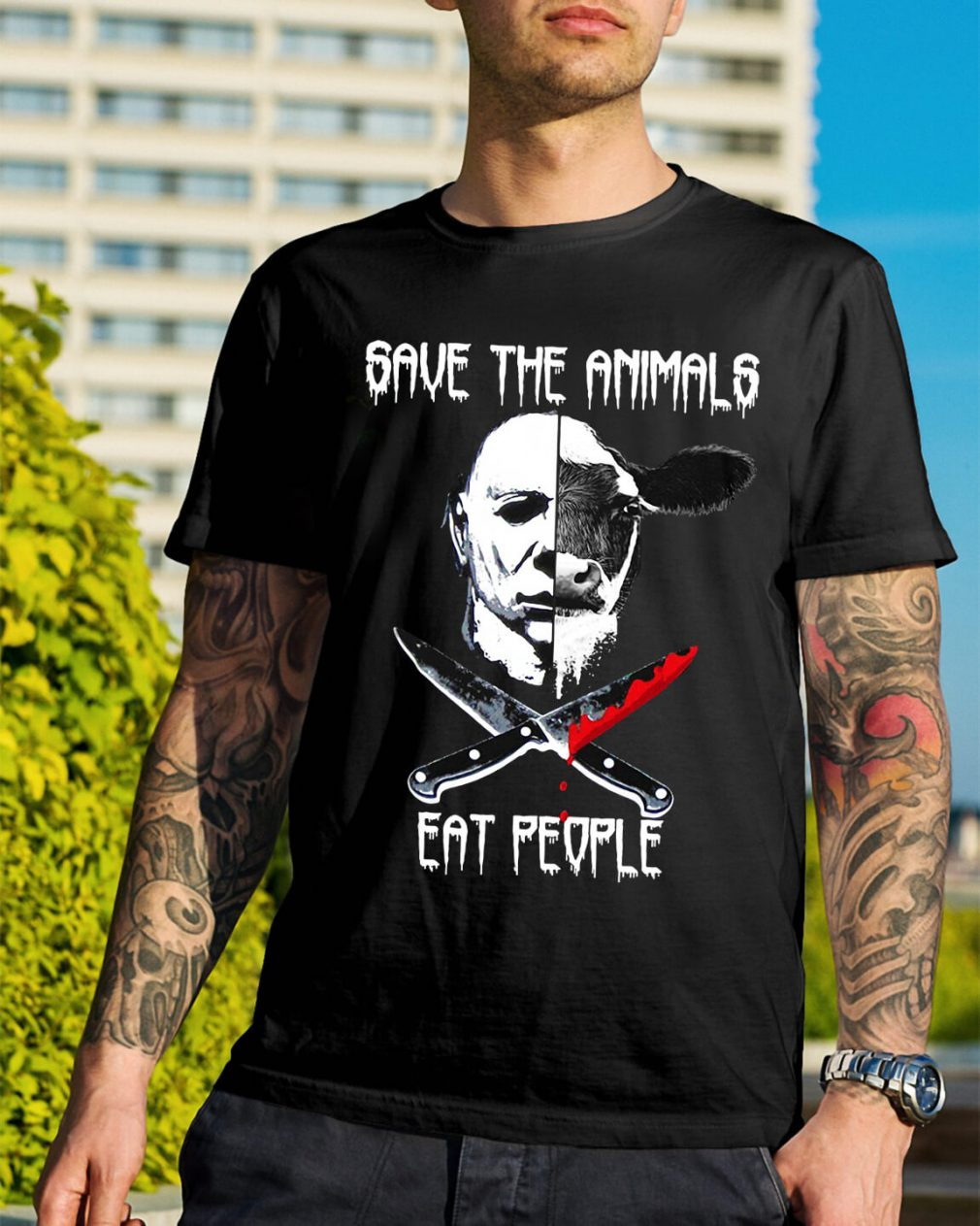 Michael Myers and Cow save the animals eat people shirt