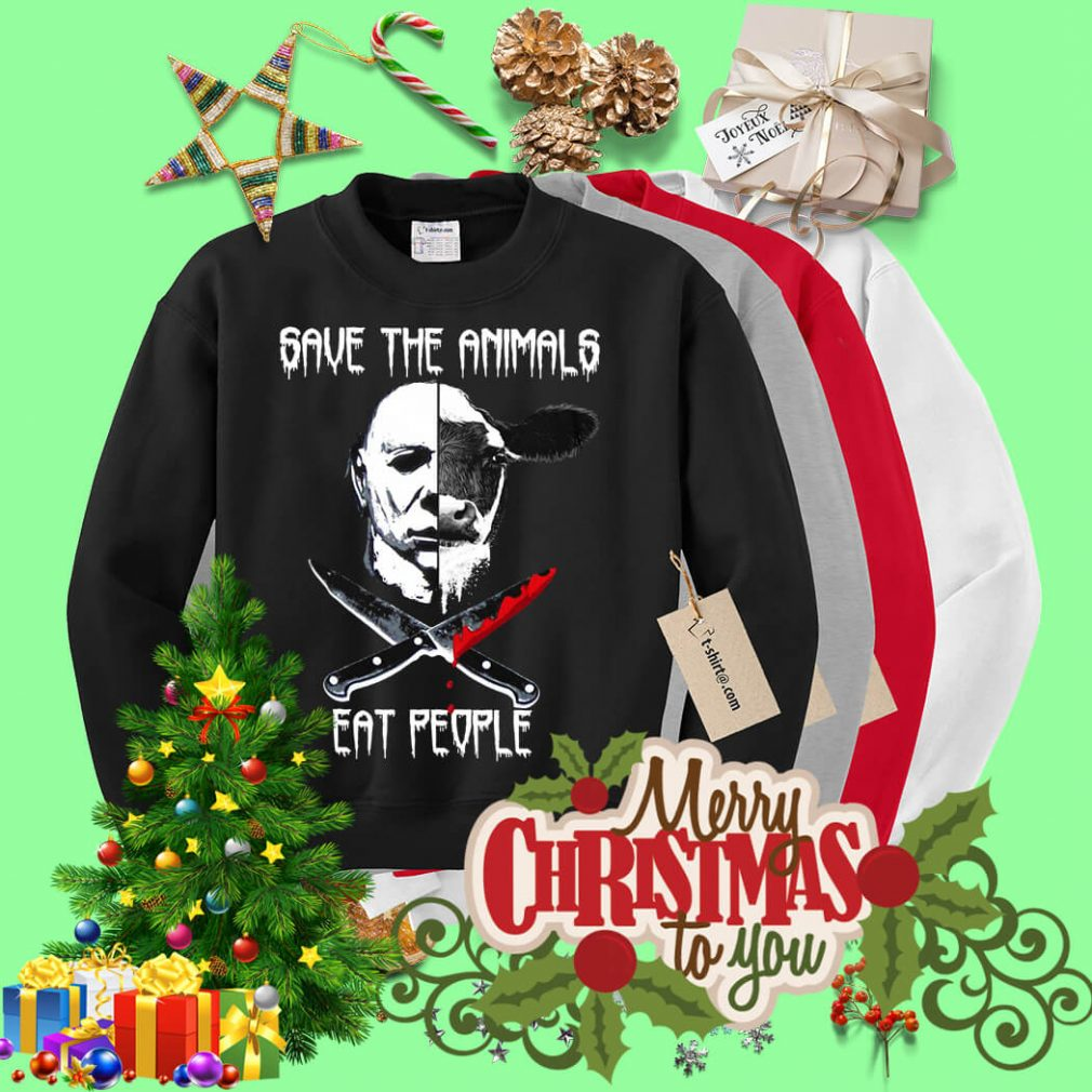 Michael Myers and Cow save the animals eat people Sweater
