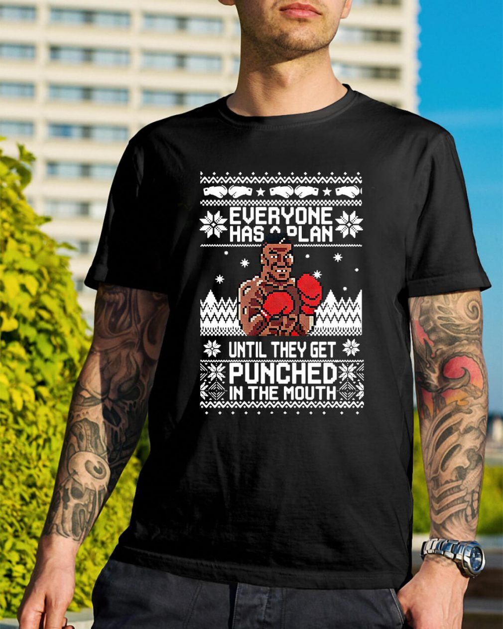 Mike Tyson Punch Everyone has a plan until ugly Christmas Guys Shirt