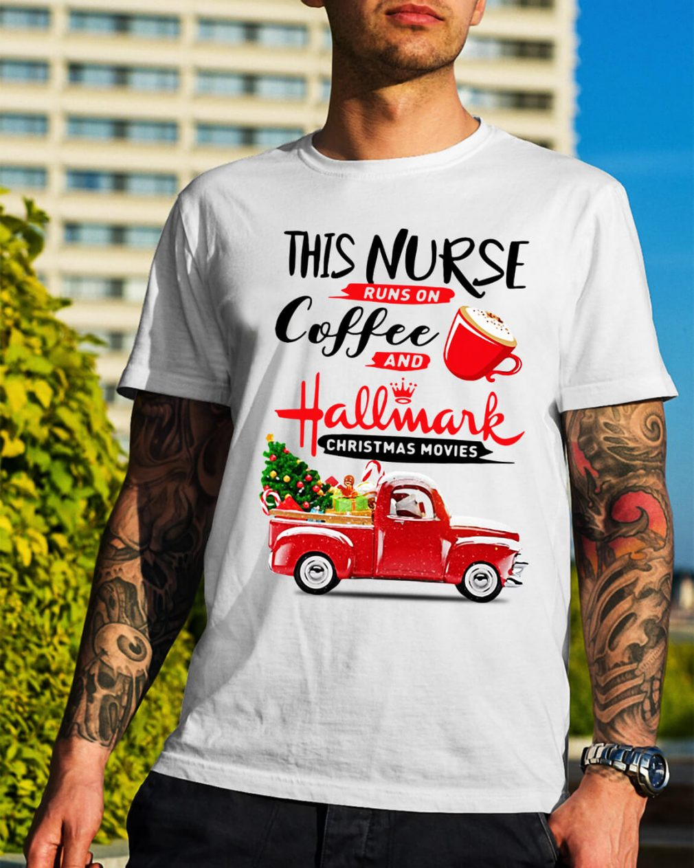 This nurse runs on coffee and Hallmark Christmas movies Guys Shirt