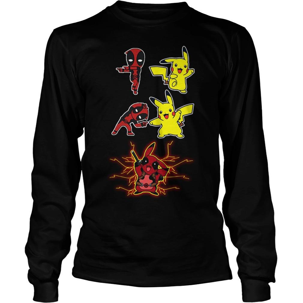 Pikapool fusion Pikachu Pokemon and Deadpool Longsleeve Tee