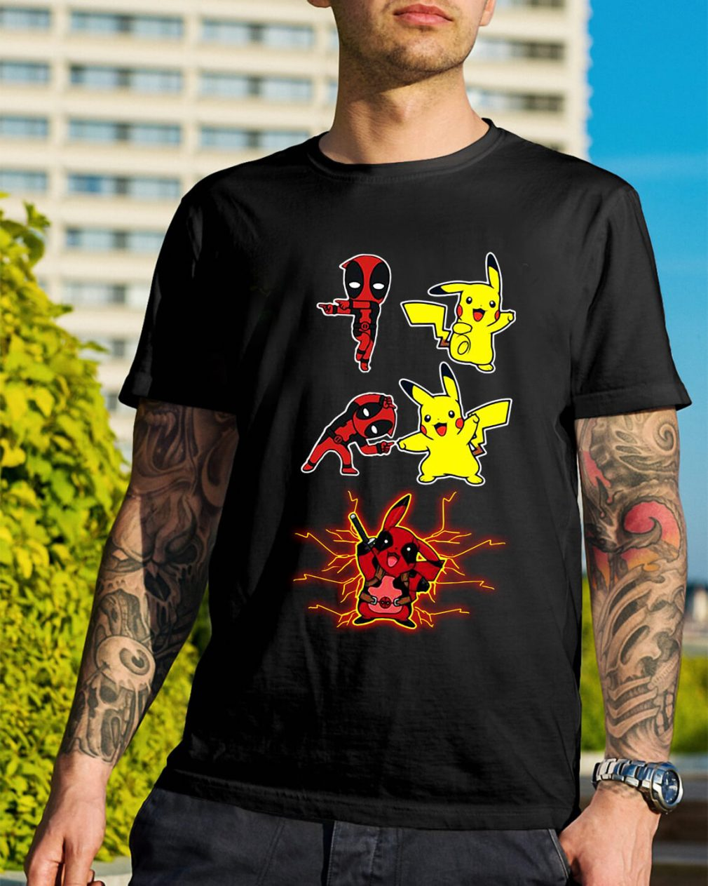 Pikapool fusion Pikachu Pokemon and Deadpool shirt