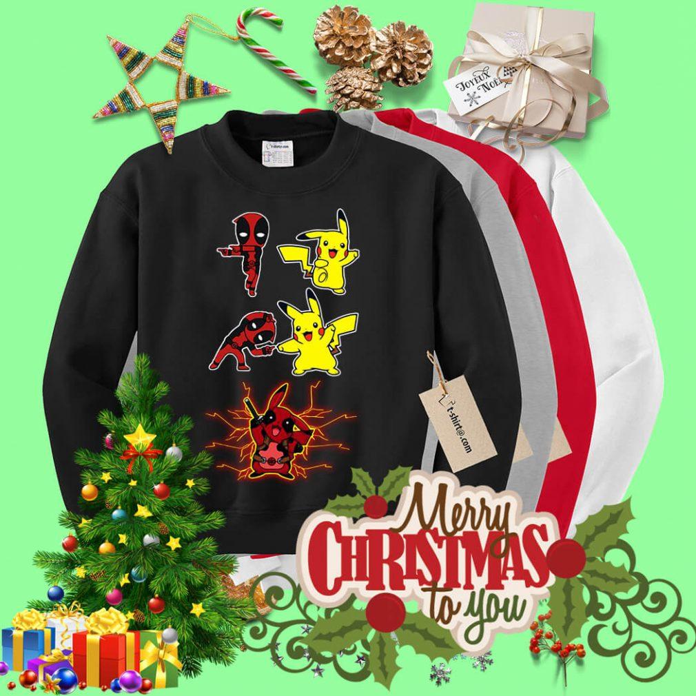 Pikapool fusion Pikachu Pokemon and Deadpool Sweater
