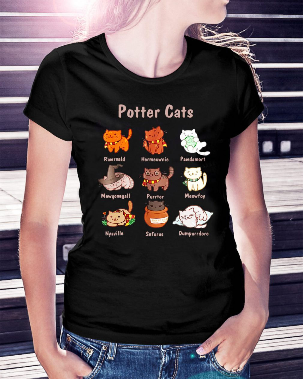 Potter cats Rawrnald Hermeownie Pawdamort Ladies Tee