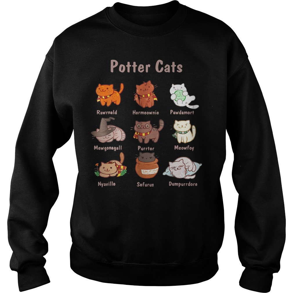 Potter cats Rawrnald Hermeownie Pawdamort Sweater