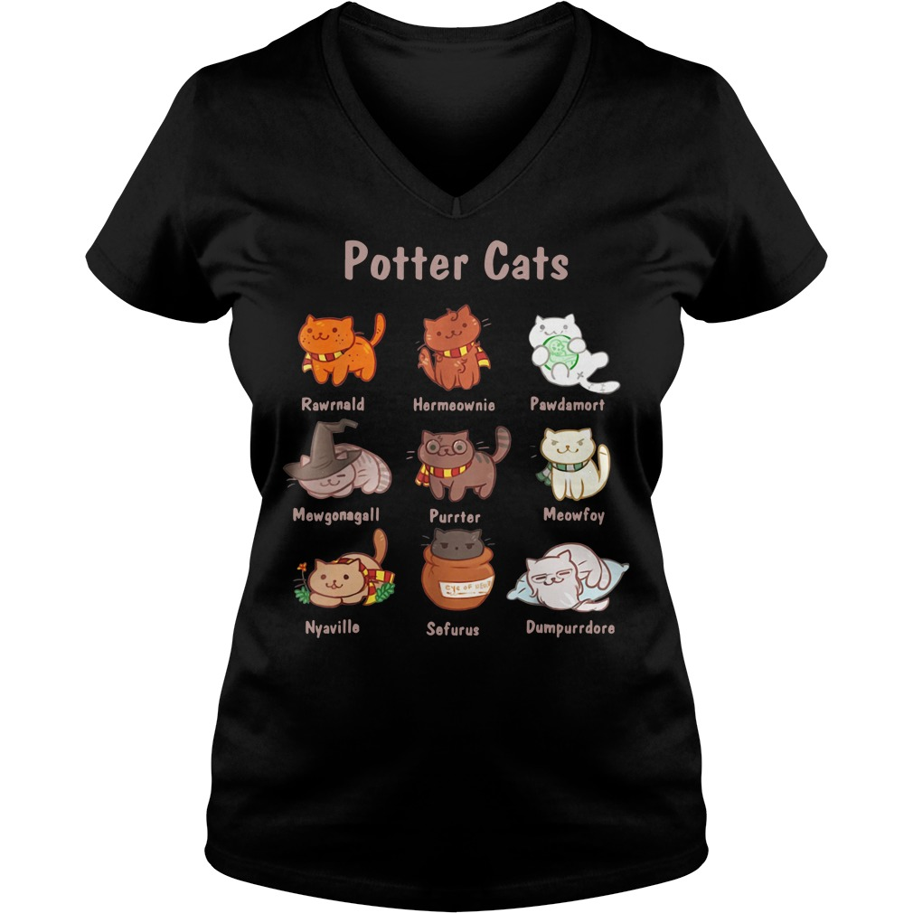Potter cats Rawrnald Hermeownie Pawdamort V-neck T-shirt