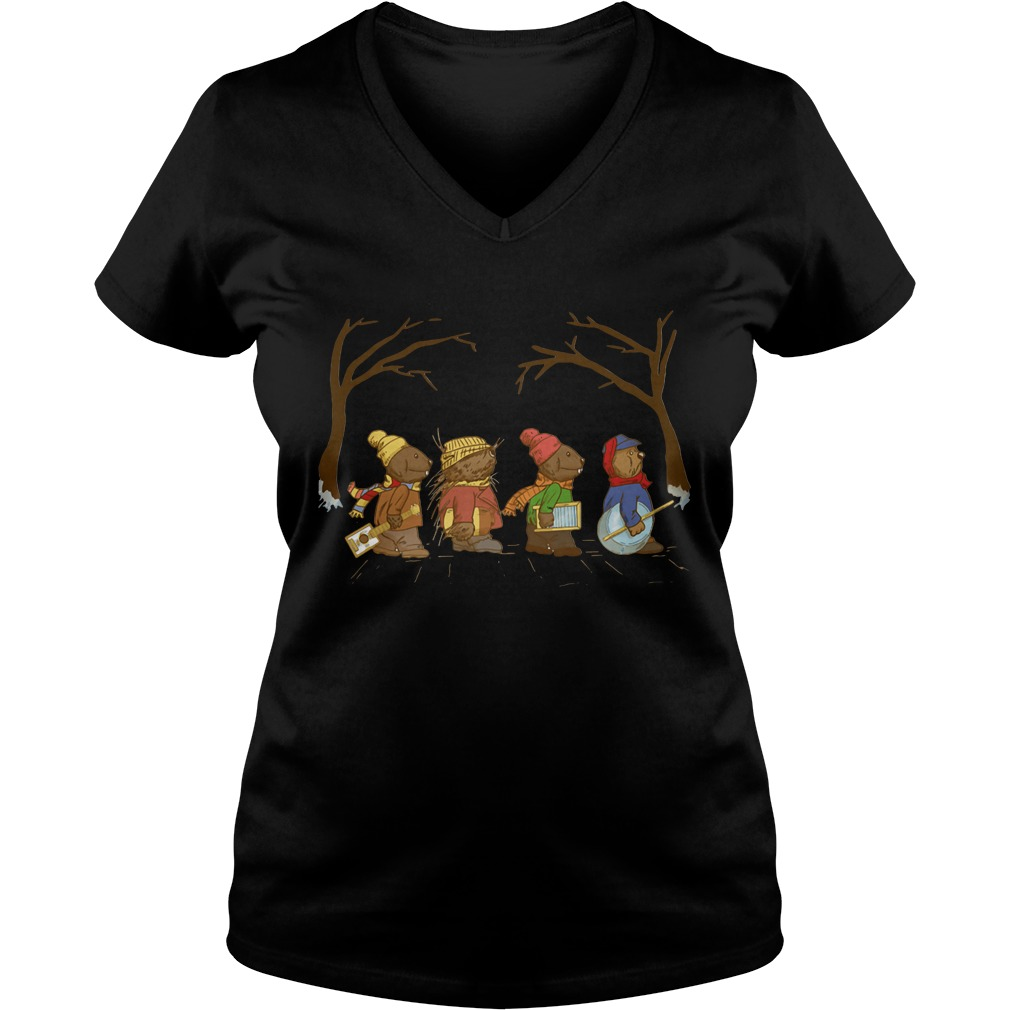 Riverbottom Nightmare Band Abbey Road Christmas V-neck T-shirt