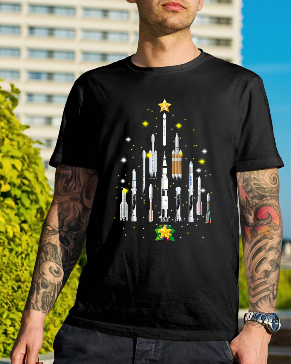 Rocket Christmas tree Guys Shirt
