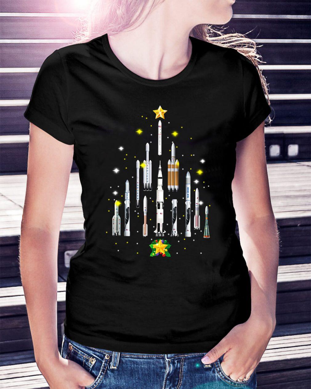 Rocket Christmas tree Ladies Tee