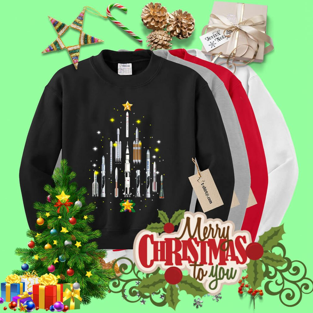 Rocket Christmas tree shirt, sweater