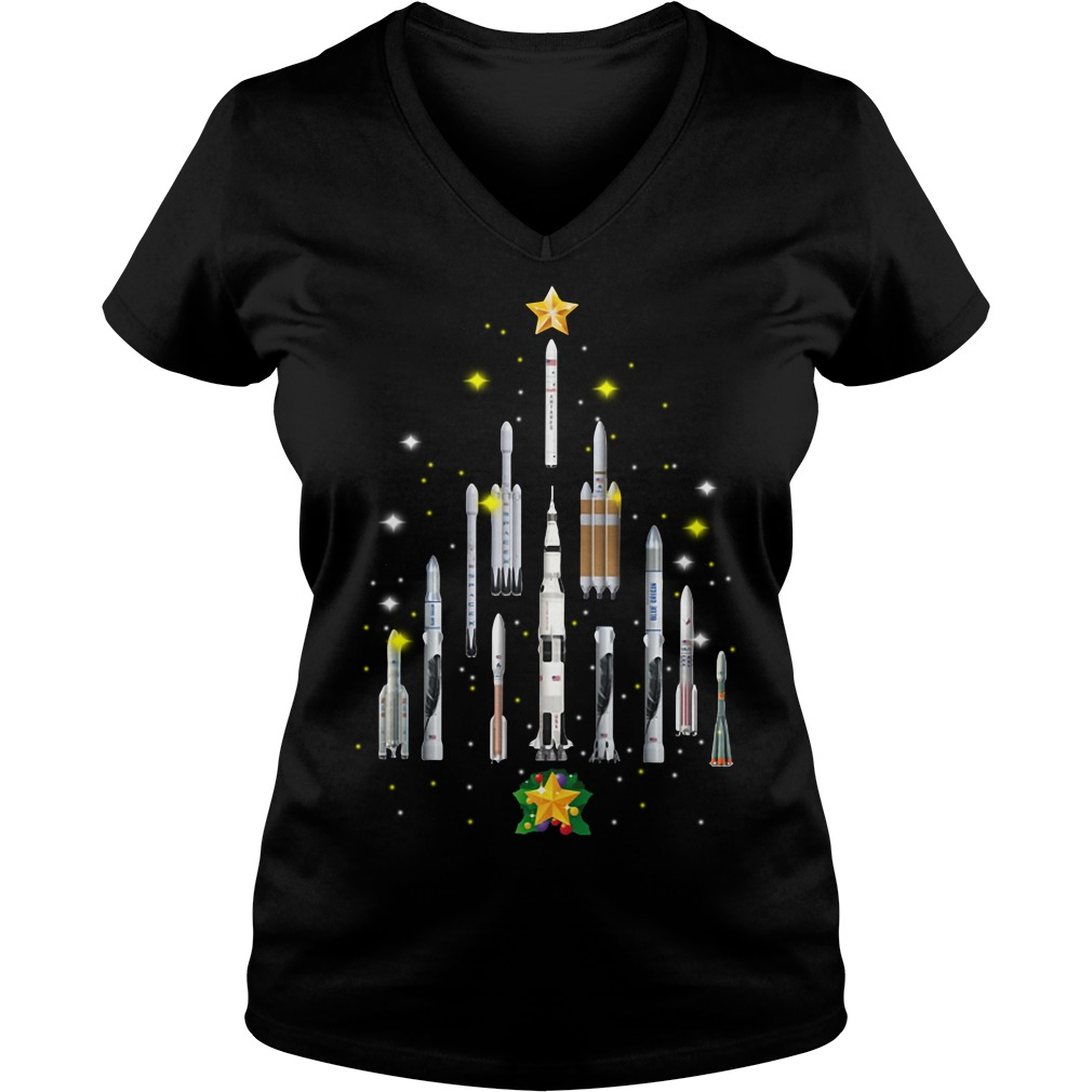 Rocket Christmas tree V-neck T-shirt
