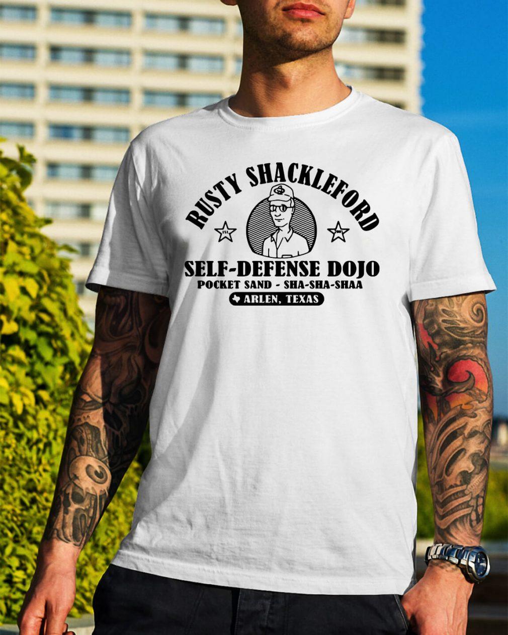 Rusty Shackleford self-defense dojo pocket sand-sha-sha-shaa shirt