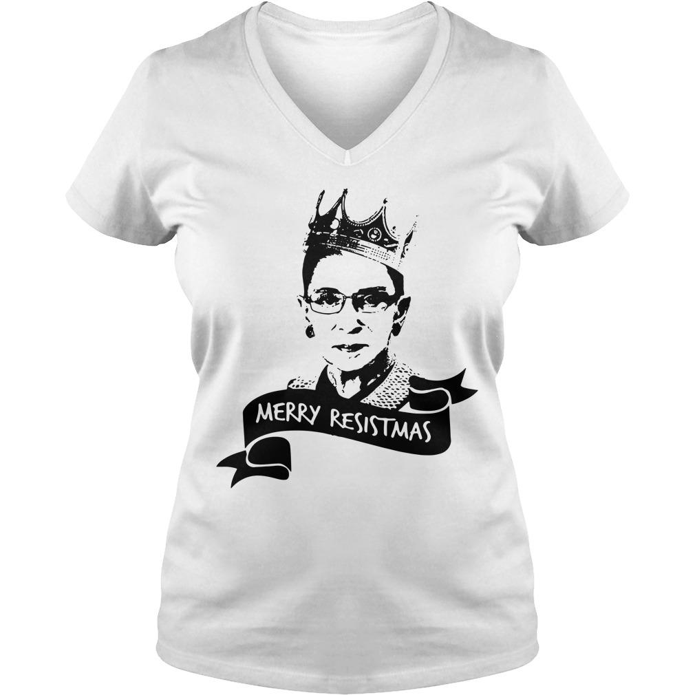Ruth Bader Ginsburg Merry Resistmas V-neck T-shirt