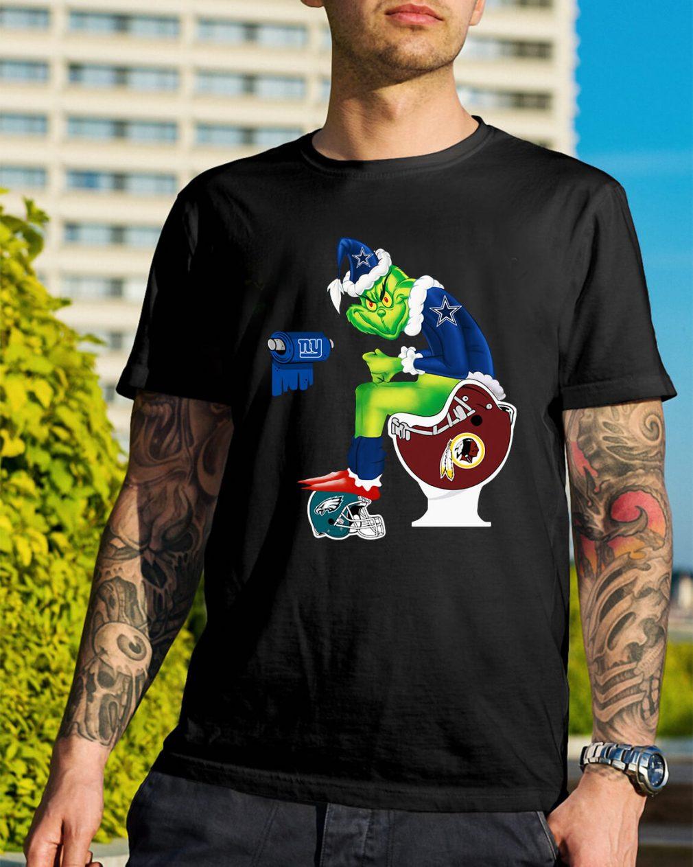 Santa Grinch Dallas Cowboys Toilet Christmas Guys Shirt
