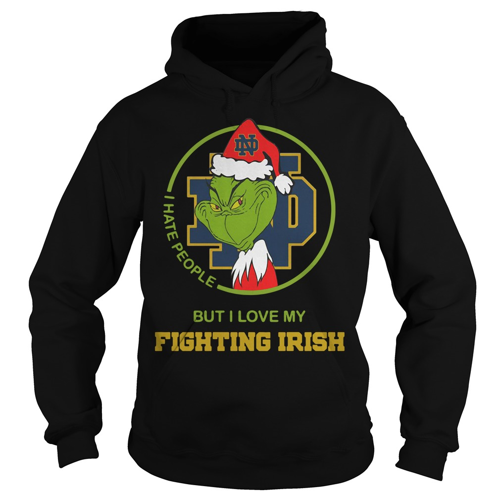 Santa Grinch Notre Dame I hate people Christmas Hoodie