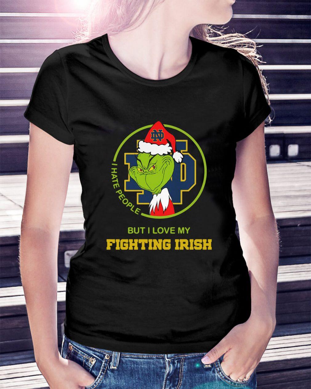 Santa Grinch Notre Dame I hate people Christmas Ladies Tee