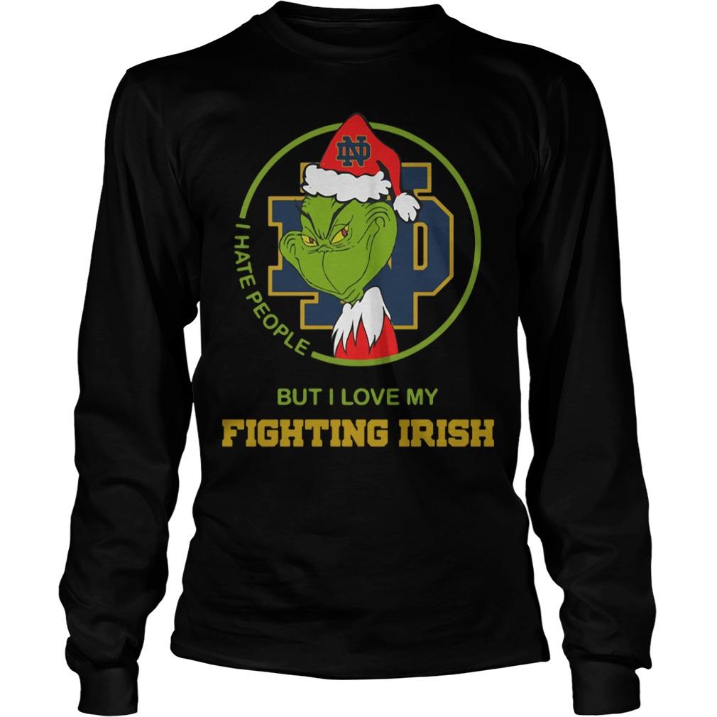 Santa Grinch Notre Dame I hate people Christmas Longsleeve Tee