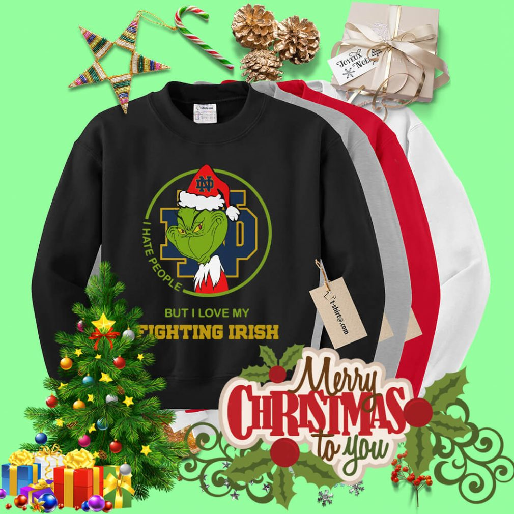 Santa Grinch Notre Dame I hate people Christmas shirt, sweater