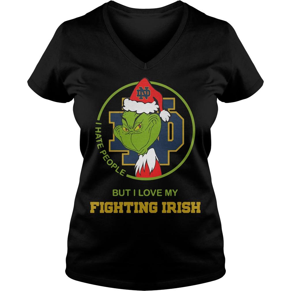 Santa Grinch Notre Dame I hate people Christmas V-neck T-shirt