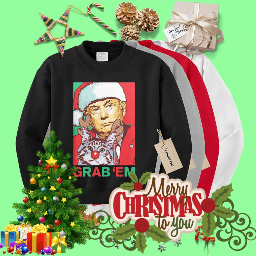 Santa Trump Cat Reindeer Grab 'em Christmas shirt, sweater