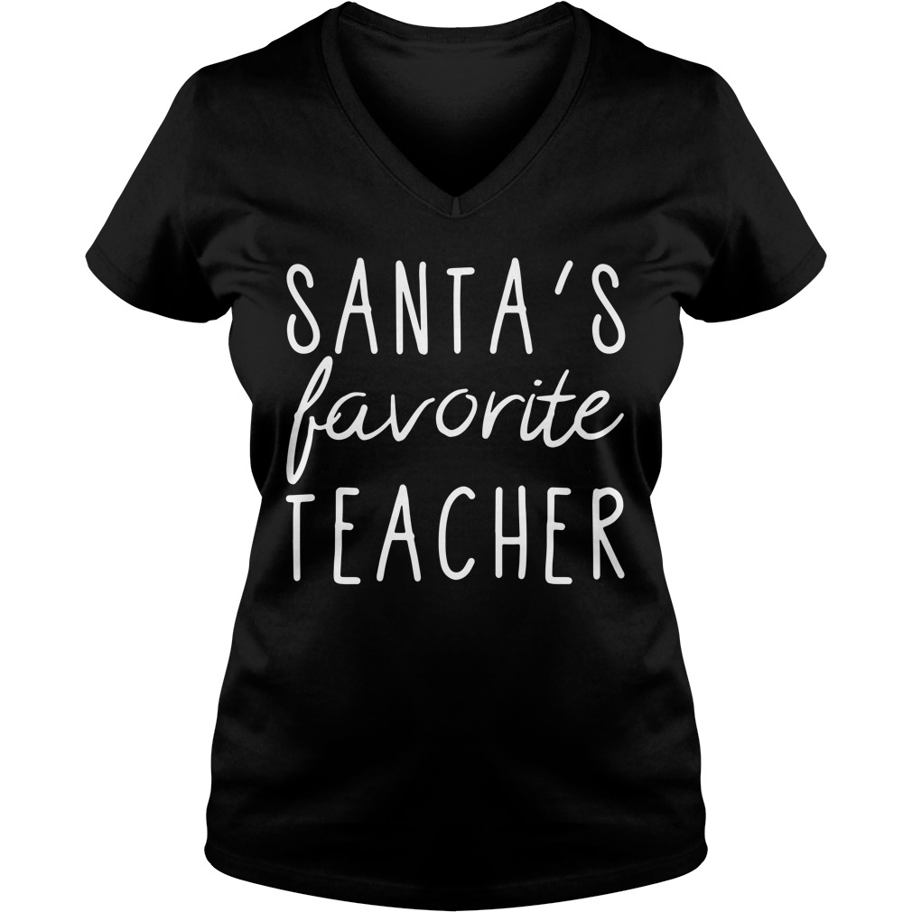 Santa's favorite teacher V-neck T-shirt